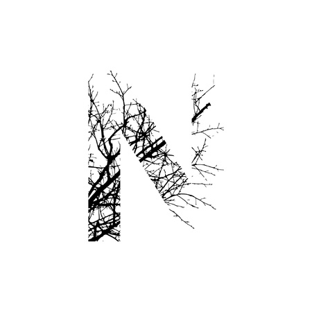 silhuette: Letter N double exposure with black trees isolated on white background.Vector  illustration.Black and white double exposure silhuette numbers combined with photograph of nature.Letters of the alphabet