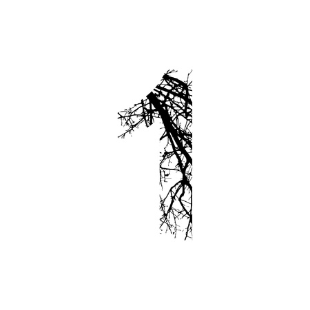 silhuette: Number 1 double exposure with black trees isolated on white background.Vector  illustration.Black and white double exposure silhuette numbers combined with photograph of nature.Letters of the alphabet