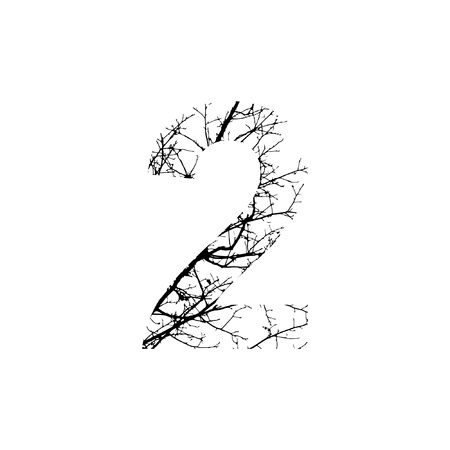silhuette: Number 2 double exposure with black trees isolated on white background.Vector  illustration.Black and white double exposure silhuette numbers combined with photograph of nature.Letters of the alphabet
