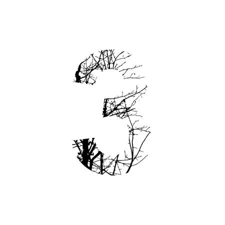 silhuette: Number 3 double exposure with black trees isolated on white background.Vector  illustration.Black and white double exposure silhuette numbers combined with photograph of nature.Letters of the alphabet Illustration