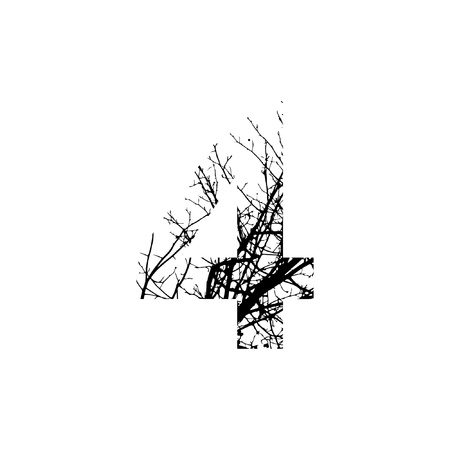 Number 4 double exposure with black trees isolated on white background.Vector  illustration.Black and white double exposure silhuette numbers combined with photograph of nature.Letters of the alphabet