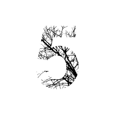 silhuette: Number 5 double exposure with black trees isolated on white background.Vector  illustration.Black and white double exposure silhuette numbers combined with photograph of nature.Letters of the alphabet