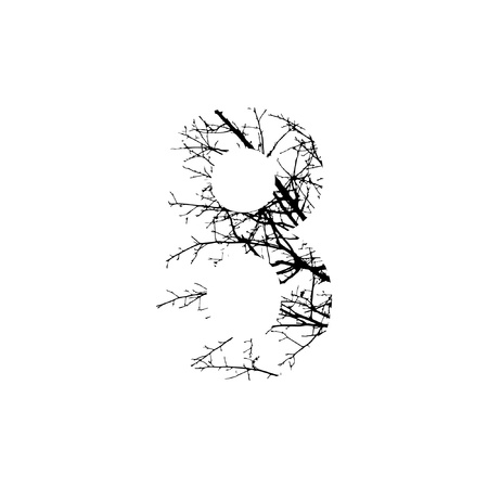 Number 8 double exposure with black trees isolated on white background.Vector  illustration.Black and white double exposure silhuette numbers combined with photograph of nature.Letters of the alphabet