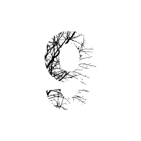 silhuette: Number 9 double exposure with black trees isolated on white background.Vector  illustration.Black and white double exposure silhuette numbers combined with photograph of nature.Letters of the alphabet Illustration