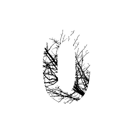 Number 0 double exposure with black trees isolated on white background.Vector  illustration.Black and white double exposure silhuette numbers combined with photograph of nature.Letters of the alphabet Ilustração
