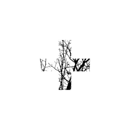 Symbol + double exposure with black trees isolated on white background.Vector  illustration.Black and white double exposure silhuette numbers combined with photograph of nature.Letters of the alphabet