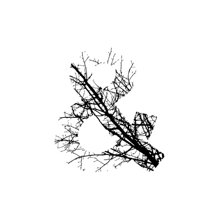 Symbol & double exposure with black trees isolated on white background.Vector  illustration.Black and white double exposure silhuette numbers combined with photograph of nature.Letters of the alphabet