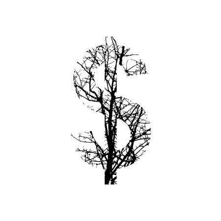 Symbol $ double exposure with black trees isolated on white background.Vector  illustration.Black and white double exposure silhuette numbers combined with photograph of nature.Letters of the alphabet