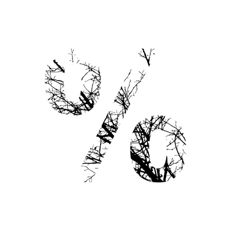Symbol % double exposure with black trees isolated on white background.Vector  illustration.Black and white double exposure silhuette numbers combined with photograph of nature.Letters of the alphabet
