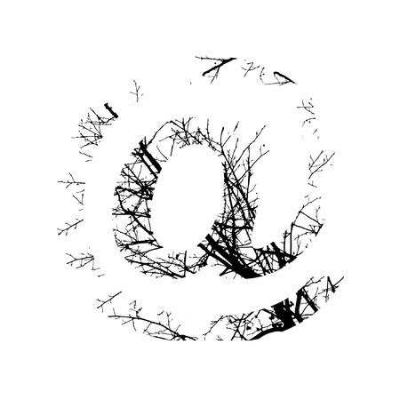 Symbol @ double exposure with black trees isolated on white background.Vector  illustration.Black and white double exposure silhuette numbers combined with photograph of nature.Letters of the alphabet Ilustração
