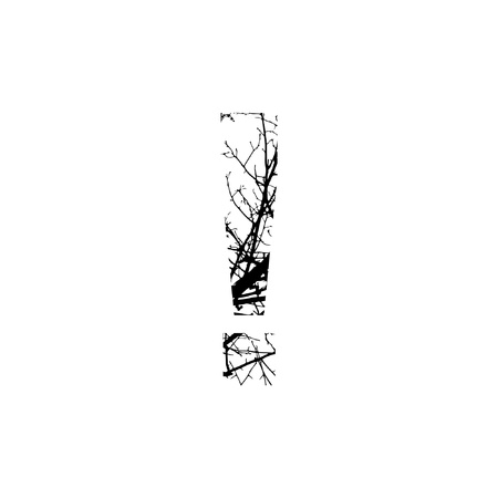 silhuette: Symbol ! double exposure with black trees isolated on white background.Vector  illustration.Black and white double exposure silhuette numbers combined with photograph of nature.Letters of the alphabet