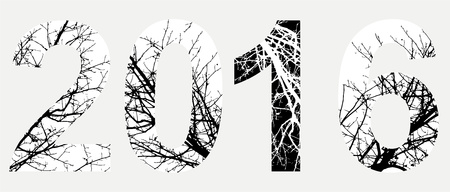 2016 double exposure with white tree on black background.Vector isolated illustration.Black and white double exposure silhouette numbers combined with photograph of nature.Letters of the alphabet