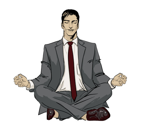 Ironic Satirical Illustration. Tired businessman working Peace of Mind. Silhouette of a man figure meditating on a ball, bubble. Calm businessman sitting in yoga asana and smiling of Sharks business.