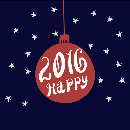 2016 Happy - unique hand-drawn typography poster. Vector art. Perfect design for posters, flyers and banners. Xmas design. Ilustração