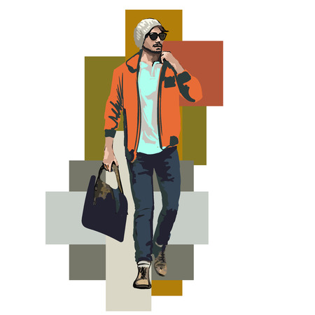 Beautiful Brunette Men a hat. Beauty Model Male. Hairstyle. Fashionable men. Freehand drawing vector. Can be used for banners, cards, covers, etc. Color illustration about fashion street style. Ilustração