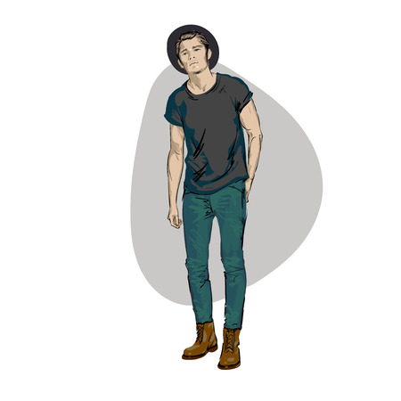 Fashionable men. Freehand drawing vector.Can be used for banners, cards, covers, etc. Wearing, jeans, boots, Urban style. Beautiful Guy enjoying Ilustração