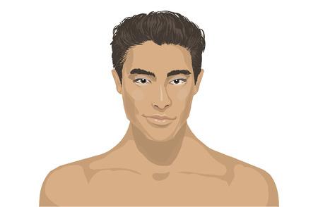 cara hermoso hombre joven de cerca. Pan Retrato masculino asiático en el fondo plano. la cara joven encantador de moda. Retrato de un hombre feliz de Asia sobre fondo blanco. Para los cosméticos de la salud del balneario del salón. Ilustración de vector