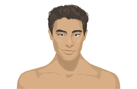 Close-up van jonge knappe man gezicht. Pan Aziatische mannelijke portret op effen achtergrond. Modieuze charmante jonge man gezicht. Portret van een gelukkig Aziatische man op een witte achtergrond. Voor de gezondheid cosmetica spa salon. Stockfoto - 51088470