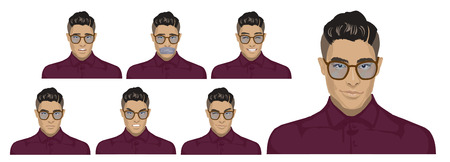 Attractive black haired young hipster man with glasses on six different face expressions collection. Set of original character Stylish Asian Fashion guys in glasses with elegant clothing style Illustration