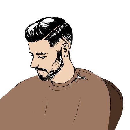 barbero: Cabello. Barba. Hombre Morena Hermosa. El pelo largo saludable. Belleza Modelo masculino. Peinado. Cuidado del cabello. Insignias peluquería y elementos de diseño. En blanco y negro.