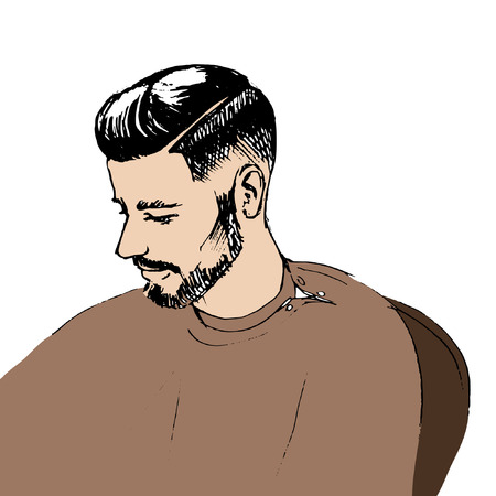 male grooming: Hair. Beard. Beautiful Brunette Man. Healthy Long Hair. Beauty Model Male. Hairstyle. Hair care. Barber shop badges and design elements. Black and White.