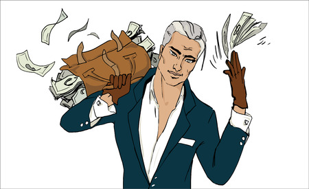 Businessman squanders money. Young handsome money. Wealth. Win. Big amount of money. Invest money. Corruption. Gambling, stock market game. Bag with money currency.