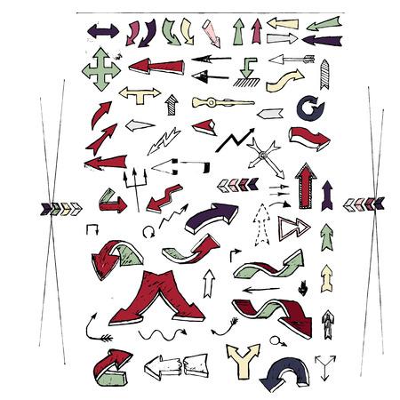 Set of color universal arrows. Vector lllustration. Sketch style. Arrows for website, cartoon. Banco de Imagens - 51088481