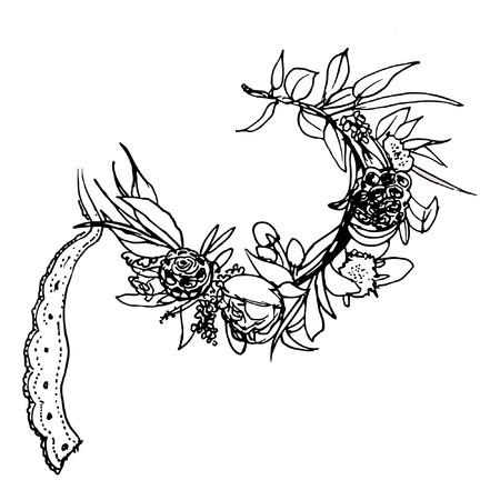 fleurs Vintage couronne. Contexte Vector couronne de fleurs. Facile à modifier. Parfait pour les invitations ou des annonces. Hand drawn cadre rond avec roses posy, renoncules, anémones, les feuilles et les éléments floraux. Vector design