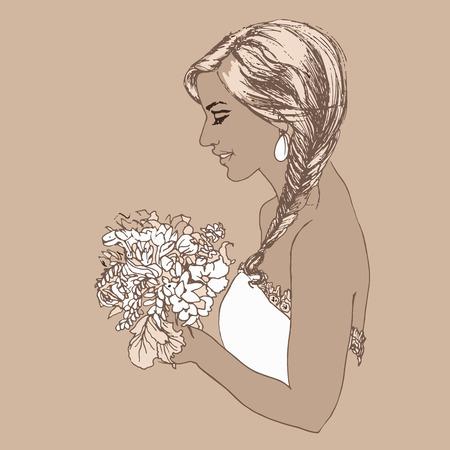 Beautiful bride with a wedding bouquet. Set of wedding vintage design elements, designers toolkit. Beautiful wedding bouquet in hands of the bride. Vector illustration. Banco de Imagens - 51088486