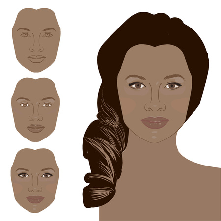 Cute cartoon girl shows curvy bright black eyelashes as a result after applying mascara. Icon set for skincare infographic. Colorful vector image illustrated steps of using cosmetic. Banco de Imagens - 51088488