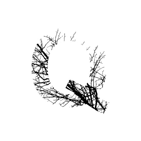 Letter Q double exposure with black tree isolated on white background.Vector  illustration.Black and white double exposure silhouette numbers combined with photograph of nature.Letters of the alphabet