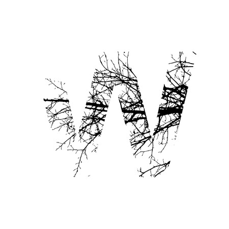 Letter W double exposure with black tree isolated on white background.Vector  illustration.Black and white double exposure silhouette numbers combined with photograph of nature.Letters of the alphabet