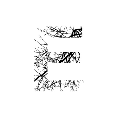 Letter E double exposure with black tree isolated on white background.Vector  illustration.Black and white double exposure silhouette numbers combined with photograph of nature.Letters of the alphabet
