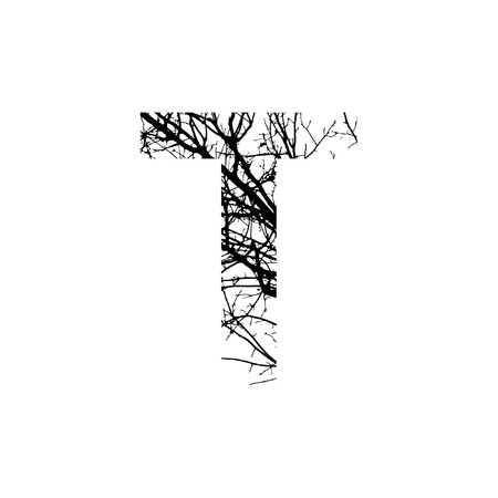 Letter T double exposure with black tree isolated on white background.Vector  illustration.Black and white double exposure silhouette numbers combined with photograph of nature.Letters of the alphabet Ilustração