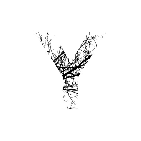 Letter Ydouble exposure with black tree isolated on white background.Vector  illustration.Black and white double exposure silhouette numbers combined with photograph of nature.Letters of the alphabet
