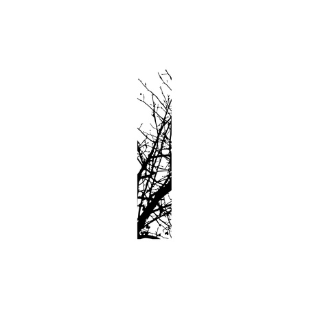 Letter I double exposure with black trees isolated on white background.Vector  illustration.Black and white double exposure silhuette numbers combined with photograph of nature.Letters of the alphabet