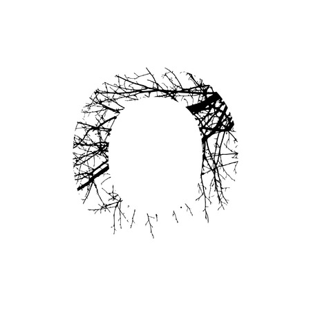 Letter O double exposure with black trees isolated on white background.Vector  illustration.Black and white double exposure silhuette numbers combined with photograph of nature.Letters of the alphabet