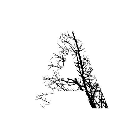 Letter A double exposure with black trees isolated on white background.Vector  illustration.Black and white double exposure silhuette numbers combined with photograph of nature.Letters of the alphabet