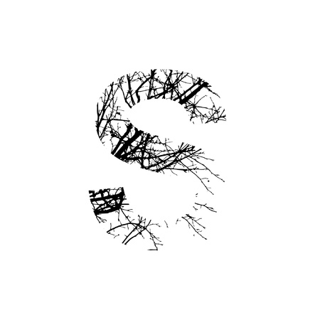 Letter S double exposure with black trees isolated on white background.Vector  illustration.Black and white double exposure silhuette numbers combined with photograph of nature.Letters of the alphabet