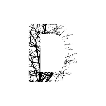 Letter D double exposure with black trees isolated on white background.Vector  illustration.Black and white double exposure silhuette numbers combined with photograph of nature.Letters of the alphabet
