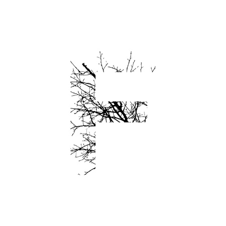 Letter F double exposure with black trees isolated on white background.Vector  illustration.Black and white double exposure silhuette numbers combined with photograph of nature.Letters of the alphabet Ilustração