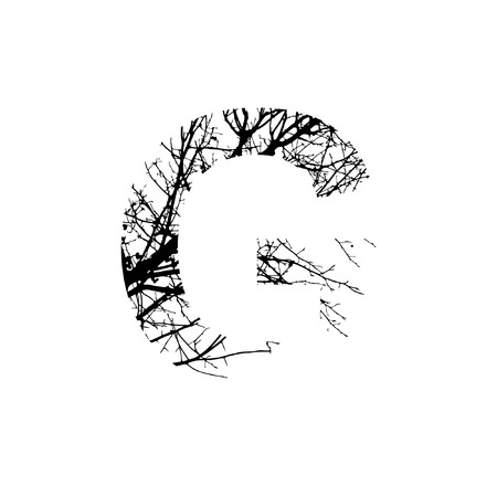 Letter G double exposure with black trees isolated on white background.Vector  illustration.Black and white double exposure silhuette numbers combined with photograph of nature.Letters of the alphabet