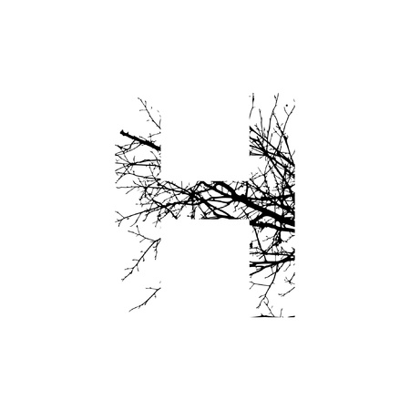 Letter H double exposure with black trees isolated on white background.Vector  illustration.Black and white double exposure silhuette numbers combined with photograph of nature.Letters of the alphabet