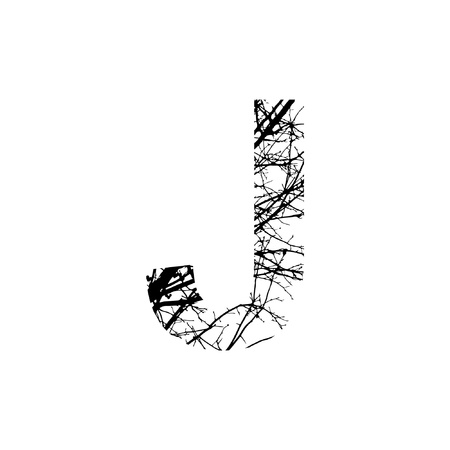 Letter J double exposure with black trees isolated on white background.Vector  illustration.Black and white double exposure silhuette numbers combined with photograph of nature.Letters of the alphabet Ilustração