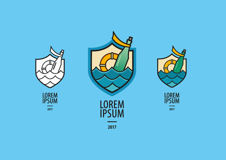botle: Sea Labels vector graphic Illustration