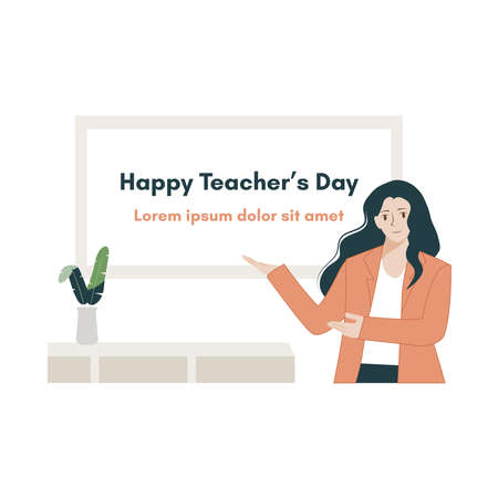 Happy teacher's day poster background concept. Vector flat illustration creative graphic design.