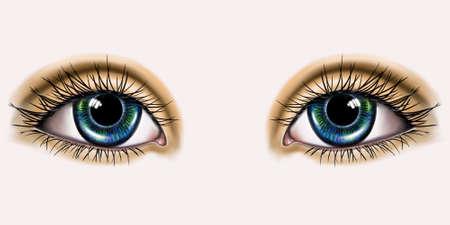 color drawing of two human eyes Фото со стока