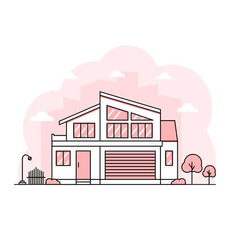 Thin Line stroke house flat design landscape minimalist home with pastel color