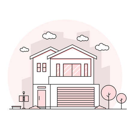 Thin Line stroke house flat design landscape minimalist home with pastel color