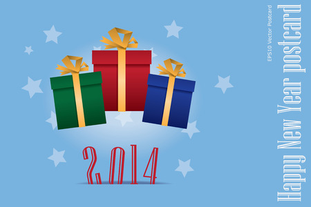 postcard: New year vector postcard with gift boxes